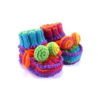 Hand Knitted Baby Booties - Blue and Red, 0 - 3 months