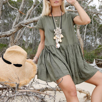 Ladies Grace Dress - Khaki or Black Linen Loose Fitting Shift Tunic, Oversized Smock Dress