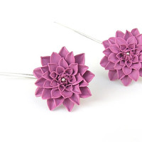 Dahlia flower earrings - handmade polymer clay earrings - heather pink dahlia - floral jewelry - polymer clay jewelry