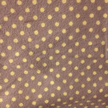 Gray and Yellow Polka Dot Quilting Flannel Fabric, 1/2 Yard, more yardage available