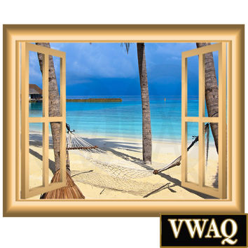 Vacation Spot Hammock Palm Trees Beach Scene Family Wall Art 3D Window Frame Vinyl Wall Decal Window Frame Peel and Stick Mural NW90