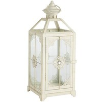 Medium Jeweled Lantern - White