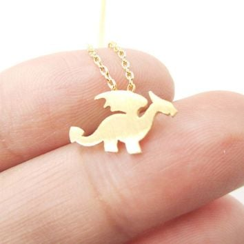 Classic Dragon Silhouette Shaped Pendant Necklace in Gold | Animal Jewelry