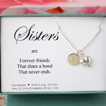 Gift for Sister Necklace - Sterling Silver Necklace with Heart and Monogram Initial - Handmade Unique Gift Box - Sisters are forever friends
