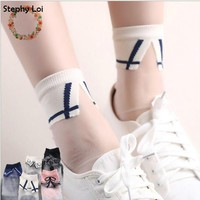 5 styles Japanese Women Girls Transparent Socks Harajuku Collar Pattern Crystal Korean Glass Silk sox Art  kawaii funny novelty