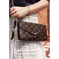 LV Vogue Women Shopping Bag Leather Handbag Tote Satchel Shoulder Bag Three-Piece