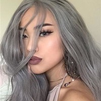 Silver Grey Wave Long Synthetic Lace Front Wig