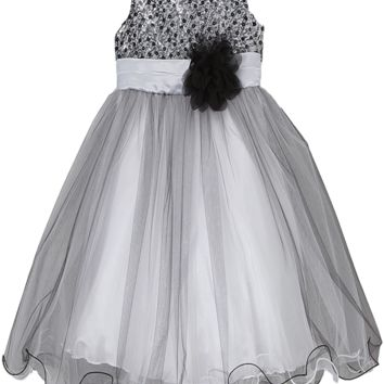 Girls Silver & Black Sequined Party Dress w. Tulle Skirt 3m-24m