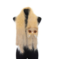 Knitted Scarf / Cream Persian cat / Fuzzy Beige Soft Scarf / cat scarf / knit cat scarf / Animal scarf