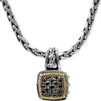 Balissima by EFFY Black Diamond Square Pendant (1/5 ct. t.w.) in 18k Gold and Sterling Silver