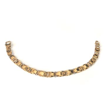 """14k Yellow And White Gold Fancy Link Mens Bracelet, 8.5"""""""