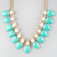 Full Tilt Facet Stone Teardrop Statement Necklace Mint One Size For Women 25136852301