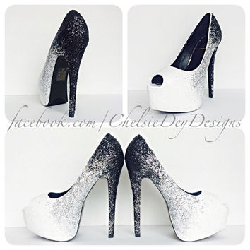 Midnight Ombre Glitter Peep Toe High Heels