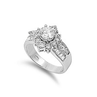 925 Sterling Silver CZ Round Center Engagement Ring 13MM