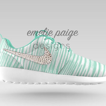 Custom Nike Roshe Run (Mint Print/White) running shoes with Swarovski Crystals