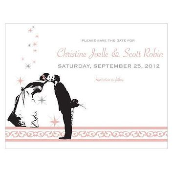 Vintage Hollywood Save The Date Card Vintage Pink (Pack of 1)