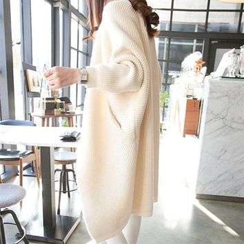 2018 Women Long Cardigans Autumn Winter Open Stitch Poncho Knitting Sweater female Oversized Shawl Cape Jacket Coat trench coat