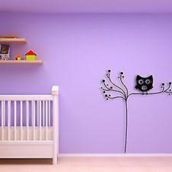 Wall Sticker Owl Tree Branch Cool Decor for KIds Nursery Room Unique Gift z1391