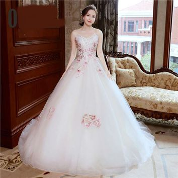 Strapless Sleeveless Pink Embroidery Train Wedding Dresses Tulle Lace Bride Wedding Gown