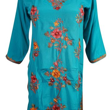 Mogul Womens Tunic Dress Blue Kashmiri Floral Embroidered Boho Hippie Silk Kurti