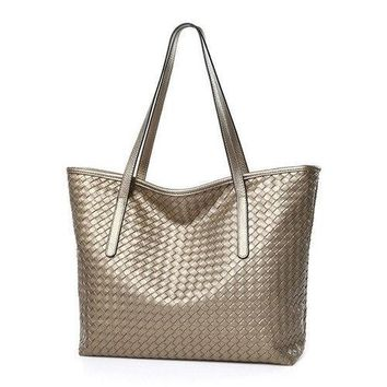 Women PU Leather Woven Handbag Large Capacity Durable Shoulder Bag