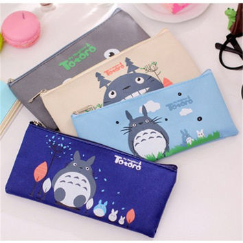 Cute Kawaii Fabric Pencil Case Lovely Cartoon Totoro Pen Bags For Kids Gift High-capacity stationery School supplies