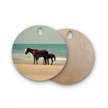 "Robin Dickinson ""Sandy Toes"" Beach Horses Round Wooden Cutting Board"