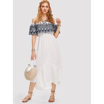 White Embroidered Flounce Bardot Neck Dress