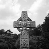 Celtic Cross Headstone - 11x14 Fine Art Print - Detailed, Goth, Cemetery