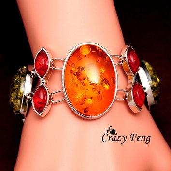 Vintage Silver Plated Colorful Amber Bracelets & Bangles Jewelry Gifts For Women/Lady's = 1946466180