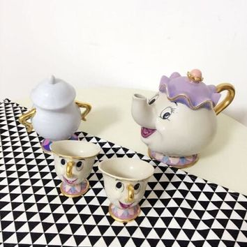 Old Style Cartoon Beauty And The Beast Mrs Potts Tea Set[1 Pot+2 Cups+1 Sugar Pot] Cup Mug nice Xmas Gift Free Shipping