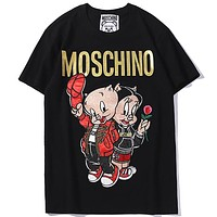 Moschino 2019 new embroidered pig + hot stamping couple couple round neck half sleeve t-shirt Black