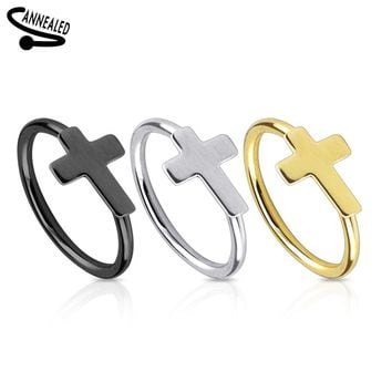 Cross IP Nose Hoop Ring