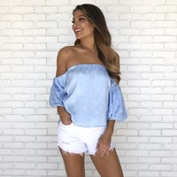 Heavenly Me Floral Off Shoulder Top in Ice Blue