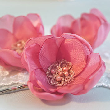 Dusty Pink Satin Cherry Blossom Hair Pins set of 3  by BelleBlooms