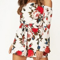 Long Sleeve Floral Print Jumpsuits