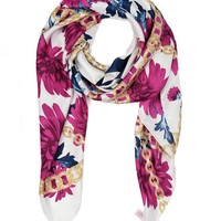 Aster Bouquets Print Silk Scarf by Juicy Couture
