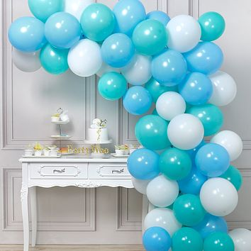 PartyWoo Mint Blue Balloons, 60 pcs 10 Inch Turquoise Balloons, Baby Blue Balloons, White Balloons for Boy Baby Shower Decorations, Blue Gender Reveal, Turquoise Baby Shower Decorations, Mint Baptism