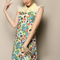Jewelry Print Beads Embroidered Pointed Flat Collar Ruffled Sleeve Mini A-line Dress