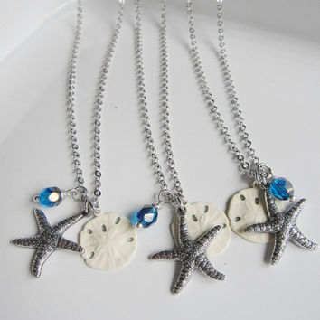 Three Silver Starfish Necklaces White sand Dollar Sapphire Czech Beads - Summer Wedding - Simple and Classic Bridesmaid Gifts
