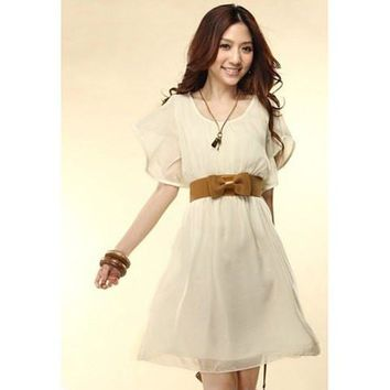 White Short Sleeves Lace Mini Dress with Brown Ribbon