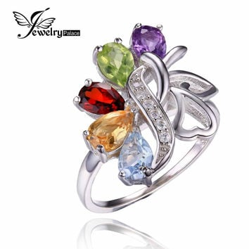 JewelryPalace Butterfly 2.4ct Genuine Amethyst Garnet Peridot Citrine Blue Topaz Cocktail Ring 925 Sterling silver Fine Jewelry