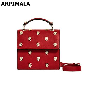 ARPIMALA 2017 Red Clutch Insect Stud Luxury Crossbody Bag Designer Women Messenger Bags Small Ladies Hand Bag Purse and Handbags