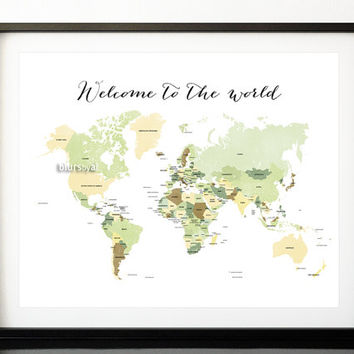 Printable world map with countries & names, gender neutral nursery wall art, nursery map, Welcome to the world quote print.  MAP138-002