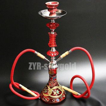 VONC1Y Color options narguile hookah set complete chicha 2 hoses glass nargile with ceramic bowl 52.8cm shisha water smoking pipe