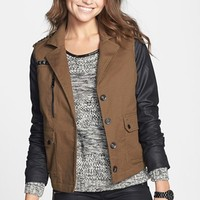 Celebrity Pink Faux Leather Sleeve Twill Jacket (Juniors) (Online Only)