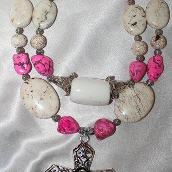 Bold Chunky White Turquoise Statement Necklace, Pink Magnesite Nugget Big Metal Cross Cowgirl Necklace, Southwest Style Statement Necklace