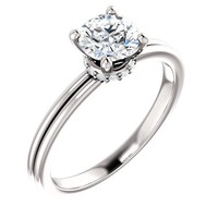 0.75 Ct Round Diamond Engagement Ring 14k White Gold