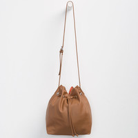 Faux Leather Bucket Bag | Handbags