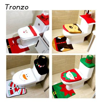 Tronzo Christmas Santa Claus Toilet Seat Cover and Rug Bathroom Set Christmas Decorations For Home Navidad New Year